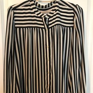 Loft black/white striped silk blouse